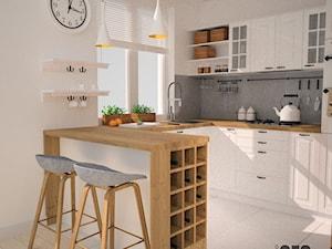 Kuchnia w stylu skandynawskim - Mała otwarta biała szara kuchnia w kształcie litery u w aneksie, styl skandynawski - zdjęcie od OES architekci