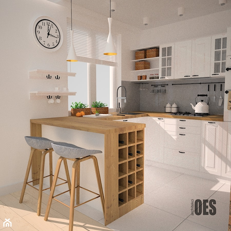 Before And After Of This Beautiful Open Concept Kitchen: Kuchnia W Stylu Skandynawskim