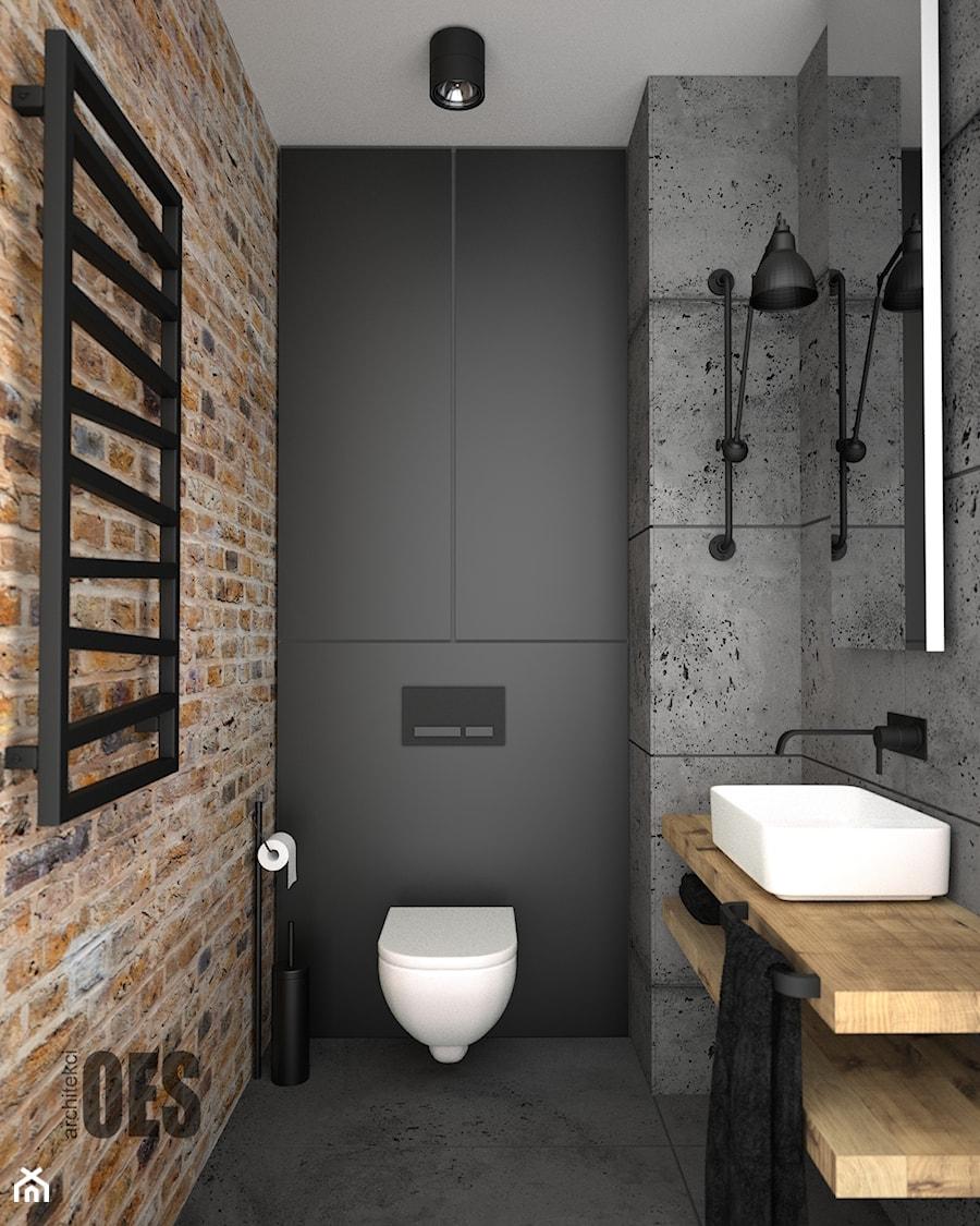 Surowa betonowa łazienka - Mała czarna łazienka, styl nowoczesny - zdjęcie od OES architekci