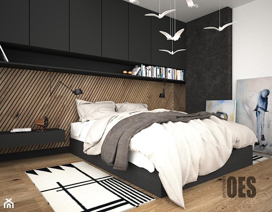 Drewno Za łóżkiem W Sypialni Sypialnia Styl Nowoczesny