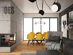 Salon - cegła, beton