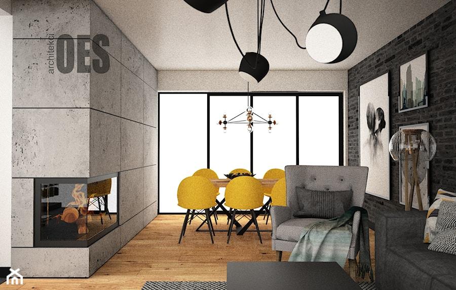 Salon - cegła, beton - Salon, styl nowoczesny - zdjęcie od OES architekci