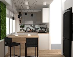 Kuchnia z mchem - Średnia zamknięta szara kuchnia w kształcie litery l z wyspą z oknem, styl nowocz ... - zdjęcie od OES architekci - Homebook