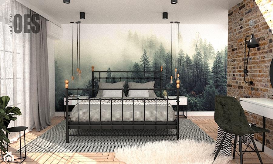 Sypialnia tapeta las - zdjęcie od OES architekci