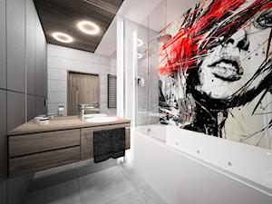 szara łazienka z czerwonym akcentem