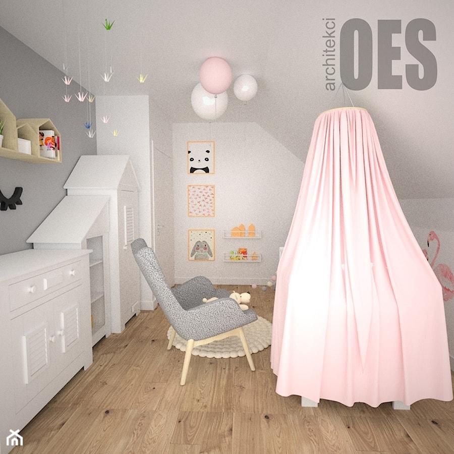 439a100c0361b0 Aranżacje wnętrz - Pokój dziecka: Pudrowy róż w pokoju dziewczynki - Średni  szary pokój dziecka