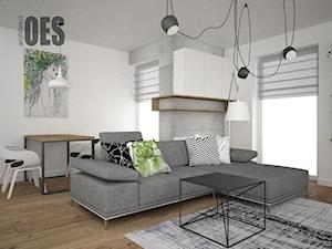 Beton, drewno i zieleń w salonie