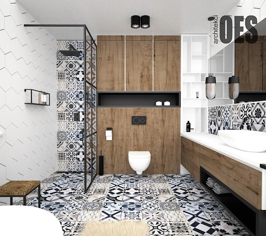 Drewno w łazience - Łazienka, styl nowoczesny - zdjęcie od OES architekci