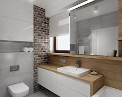 Średnia beżowa szara łazienka z oknem, styl nowoczesny - zdjęcie od All Design Agnieszka Lorenc
