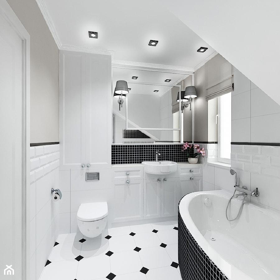 Projekt - Klasyczny dom pod Krakowem - Średnia biała szara łazienka na poddaszu w domu jednorodzinnym z oknem, styl klasyczny - zdjęcie od All Design Agnieszka Lorenc