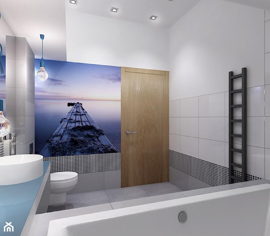 Projekt łazienki z nuta błekitu - Średnia biała kolorowa łazienka bez okna, styl minimalistyczny - zdjęcie od All Design Agnieszka Lorenc