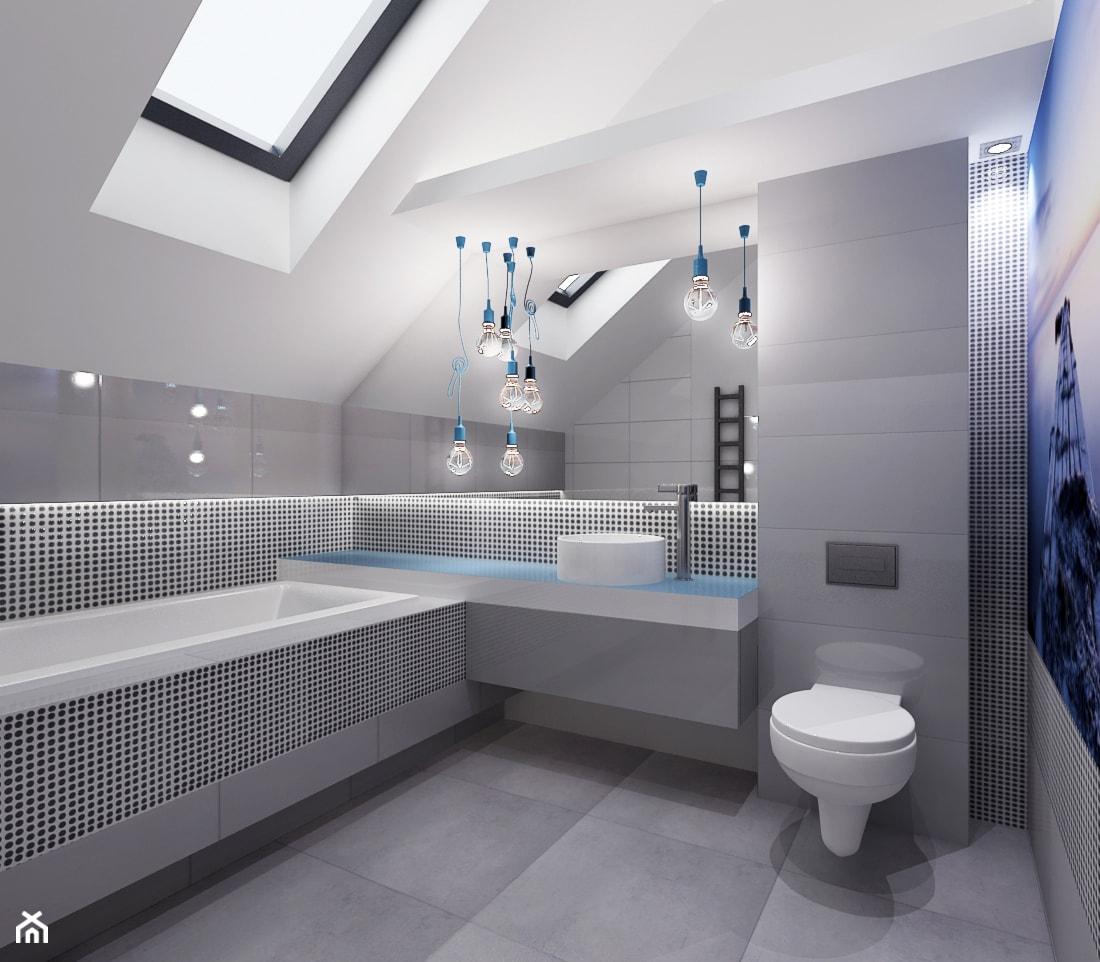 Projekt łazienki z nuta błekitu - Duża biała szara łazienka na poddaszu w domu jednorodzinnym z oknem, styl minimalistyczny - zdjęcie od All Design Agnieszka Lorenc - Homebook