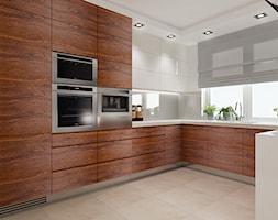 Projekt domu Warszawa - Duża otwarta biała kuchnia w kształcie litery u w aneksie, styl tradycyjny - zdjęcie od All Design Agnieszka Lorenc