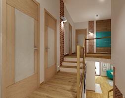 Dom z cegłą PROJEKT - Średni beżowy hol / przedpokój - zdjęcie od All Design Agnieszka Lorenc