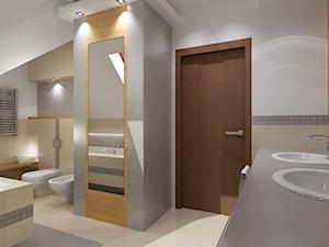 łazienka z nuta drewna i szarosci