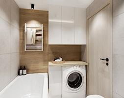 Mieszkanie 50 m2 - Mała biała beżowa łazienka bez okna, styl nowoczesny - zdjęcie od All Design Agnieszka Lorenc
