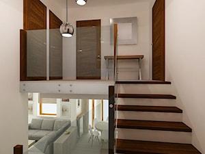 Dom Kraków - Średnie wąskie schody jednobiegowe drewniane z materiałów mieszanych - zdjęcie od All Design Agnieszka Lorenc
