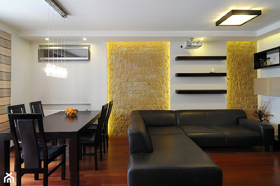 Mieszkanie 2 Kraków - Mały biały salon z jadalnią, styl nowoczesny - zdjęcie od All Design Agnieszka Lorenc