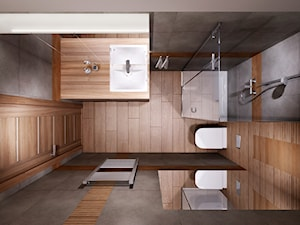 Mieszkanie na wynajem 1 - Mała brązowa szara łazienka w bloku bez okna, styl nowoczesny - zdjęcie od All Design Agnieszka Lorenc