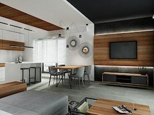 Mieszkanie z czernia na wynajem Kraków - Duży biały salon z kuchnią z jadalnią, styl nowoczesny - zdjęcie od All Design Agnieszka Lorenc