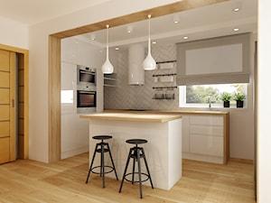 Metamorfoza kuchni i jadalni - Średnia otwarta biała kuchnia w kształcie litery l w aneksie z wyspą, styl nowoczesny - zdjęcie od All Design Agnieszka Lorenc