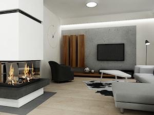 Projekt dom pod Warszawą - Średni szary biały salon, styl minimalistyczny - zdjęcie od All Design Agnieszka Lorenc