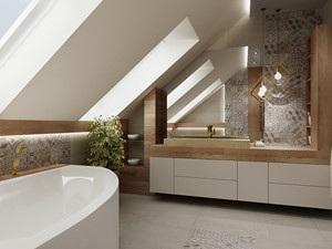 Łazienka ze skosami - Średnia biała łazienka na poddaszu jako domowe spa z oknem, styl nowoczesny - zdjęcie od All Design Agnieszka Lorenc
