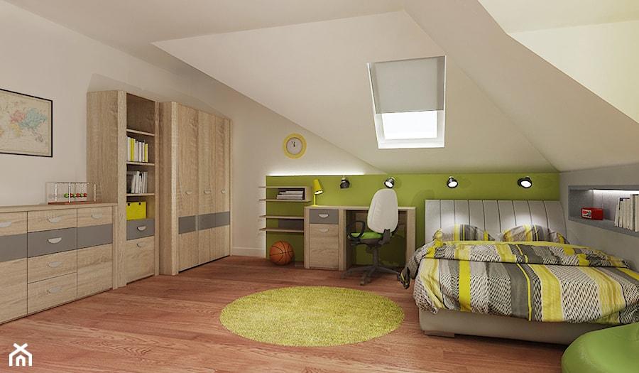 Pokój chłopca - Średni beżowy zielony pokój dziecka dla chłopca dla nastolatka, styl nowoczesny - zdjęcie od All Design Agnieszka Lorenc