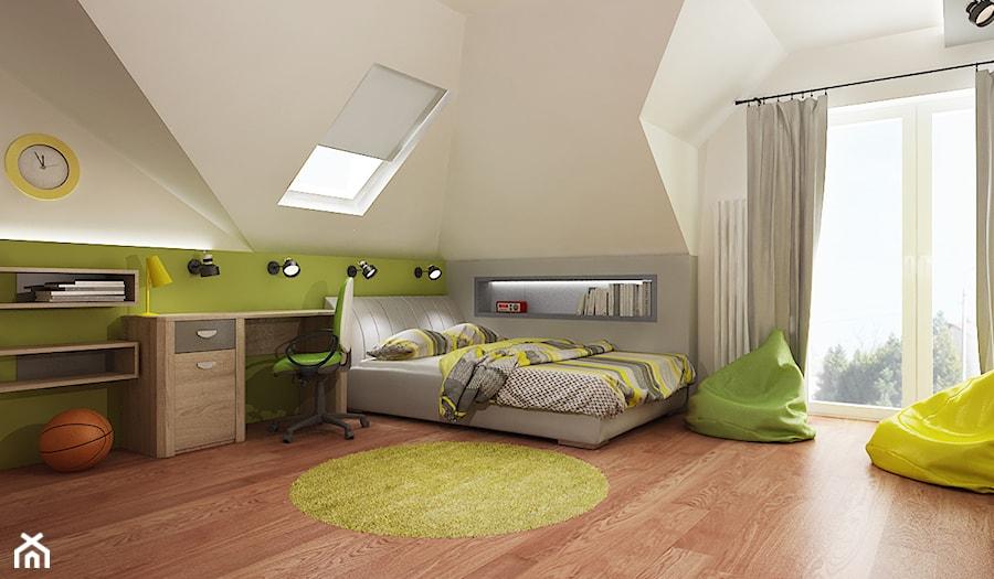 Pokój chłopca - Duży biały szary zielony pokój dziecka dla chłopca dla dziewczynki dla ucznia dla nastolatka, styl nowoczesny - zdjęcie od All Design Agnieszka Lorenc