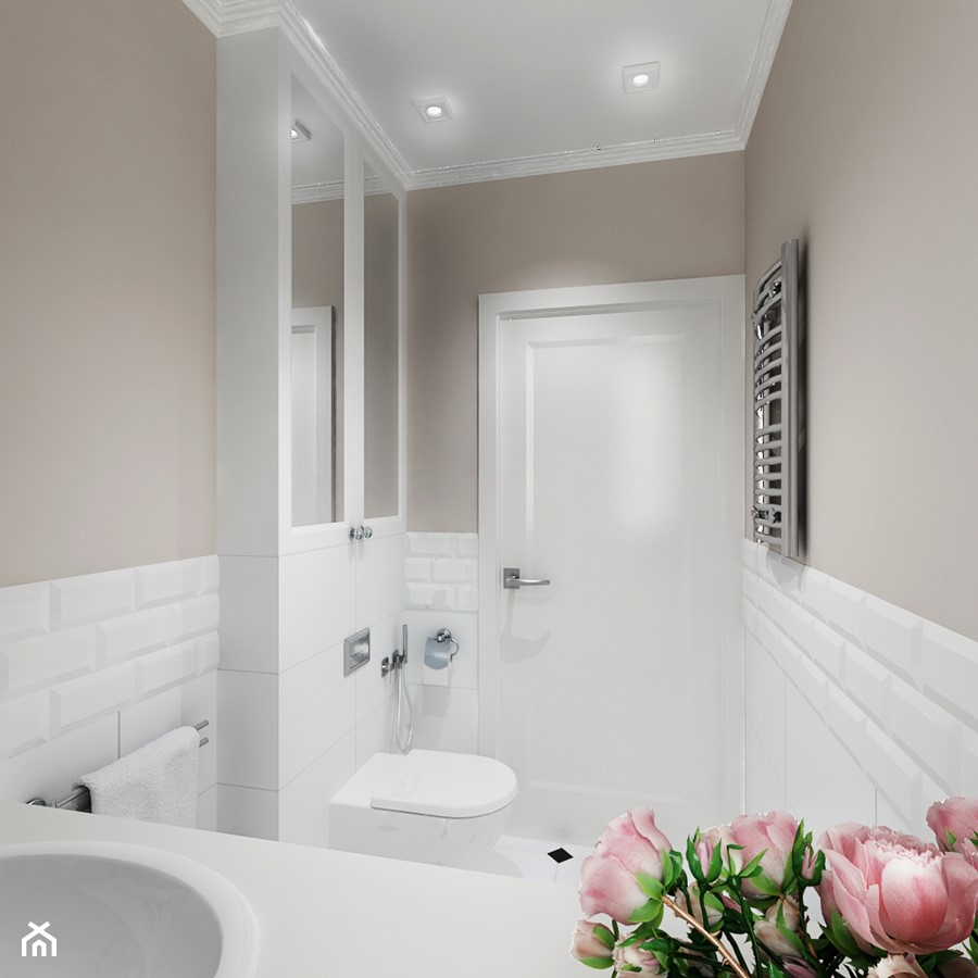 Projekt - Klasyczny dom pod Krakowem - Mała beżowa łazienka, styl klasyczny - zdjęcie od All Design Agnieszka Lorenc