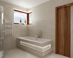 łazienka w bieli - Średnia biała łazienka w domu jednorodzinnym z oknem, styl nowoczesny - zdjęcie od All Design Agnieszka Lorenc