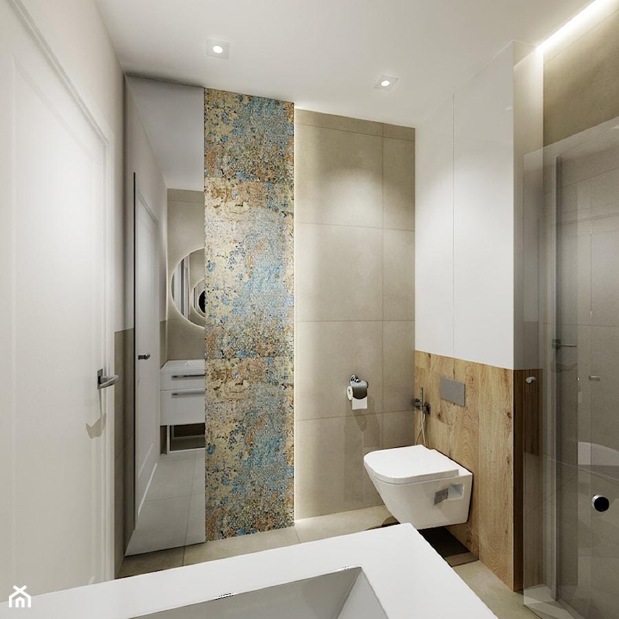 Projekt - Dom pod Krakowem w kolorze natury - Mała łazienka w bloku w domu jednorodzinnym bez okna, styl nowoczesny - zdjęcie od All Design Agnieszka Lorenc