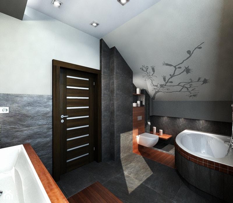 łazienka z magnolią - Średnia biała szara łazienka na poddaszu w domu jednorodzinnym z oknem, styl nowoczesny - zdjęcie od All Design Agnieszka Lorenc