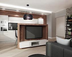 Mieszkanie na wynajem 2 PROJEKT - Mały szary salon z kuchnią z jadalnią, styl nowoczesny - zdjęcie od All Design Agnieszka Lorenc