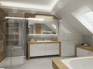 Łazienka na poddaszu - szaroście i drewno - Średnia biała łazienka na poddaszu w domu jednorodzinnym z oknem, styl nowoczesny - zdjęcie od All Design Agnieszka Lorenc