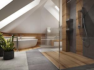 Duża łazienka na poddaszu - Duża biała beżowa szara łazienka na poddaszu w domu jednorodzinnym jako salon kąpielowy z oknem, styl tradycyjny - zdjęcie od All Design Agnieszka Lorenc