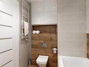 Mieszkanie w bieli i cegłą w tle - Mała biała brązowa szara łazienka w bloku bez okna, styl nowoczesny - zdjęcie od All Design Agnieszka Lorenc