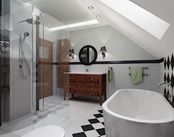 łazienka styl retro - Duża biała czarna łazienka na poddaszu w domu jednorodzinnym z oknem, styl rustykalny - zdjęcie od All Design Agnieszka Lorenc
