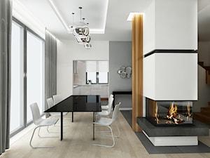 Projekt dom pod Warszawą - Średnia otwarta biała szara jadalnia w salonie, styl minimalistyczny - zdjęcie od All Design Agnieszka Lorenc