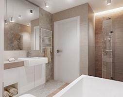 Łazienka w beżach - Średnia łazienka w bloku w domu jednorodzinnym, styl nowoczesny - zdjęcie od All Design Agnieszka Lorenc