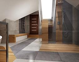 Duża łazienka na poddaszu - Duża biała szara łazienka na poddaszu jako salon kąpielowy z oknem, styl tradycyjny - zdjęcie od All Design Agnieszka Lorenc