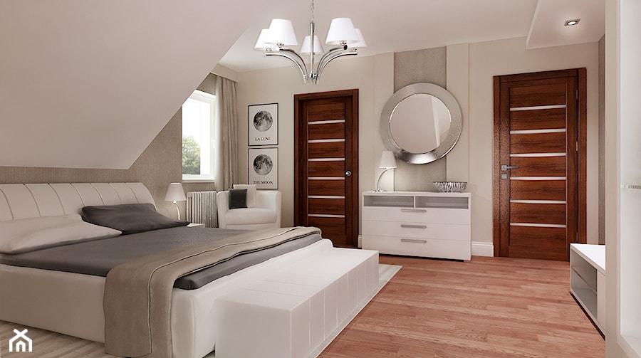 Klasyczna Sypialnia średnia Beżowa Biała Sypialnia