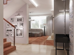 Dom Warszawa klatka schodowa i hol - Średni szary różowy hol / przedpokój, styl klasyczny - zdjęcie od All Design Agnieszka Lorenc