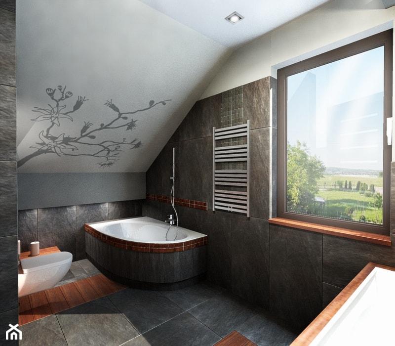 łazienka z magnolią - Średnia biała szara łazienka na poddaszu z oknem, styl nowoczesny - zdjęcie od All Design Agnieszka Lorenc