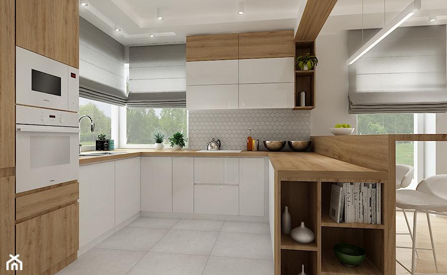 Dom w Olkuszu w jasnej wersji - Średnia otwarta biała szara kuchnia w kształcie litery u w aneksie z oknem, styl skandynawski - zdjęcie od All Design Agnieszka Lorenc