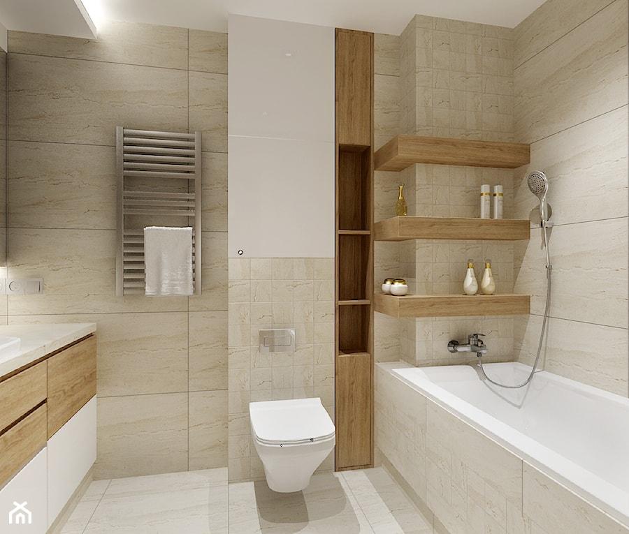 Łazienka Kraków. - Średnia biała beżowa łazienka w bloku w domu jednorodzinnym bez okna, styl nowoczesny - zdjęcie od All Design Agnieszka Lorenc