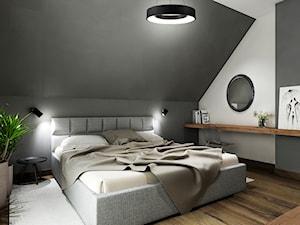 Dom pod Krakowem z ciemnymi akcentami. - Średnia biała szara sypialnia małżeńska na poddaszu, styl nowoczesny - zdjęcie od All Design Agnieszka Lorenc