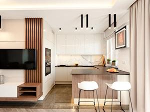 Realizacja projektu Pianisimmo Kraków - Średnia otwarta biała kuchnia w kształcie litery g z oknem, styl eklektyczny - zdjęcie od All Design Agnieszka Lorenc