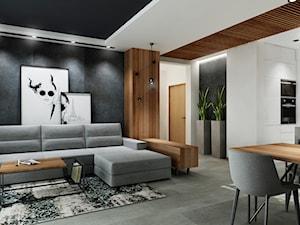 Mieszkanie z czernia na wynajem Kraków - Mały szary biały salon z kuchnią z jadalnią, styl nowoczesny - zdjęcie od All Design Agnieszka Lorenc