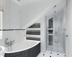 Projekt - Klasyczny dom pod Krakowem - Mała łazienka na poddaszu w domu jednorodzinnym z oknem, styl klasyczny - zdjęcie od All Design Agnieszka Lorenc